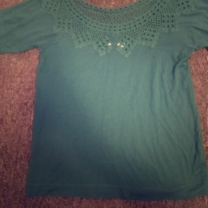 Teal off shoulder top with nitted neck